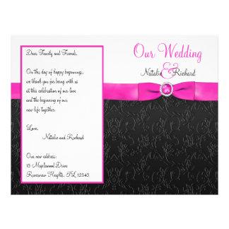 Black, Hot Pink, and White Wedding Program Full Color Flyer