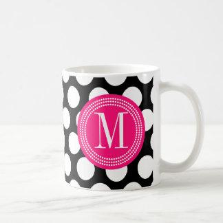 Black & Hot Pink | Big Polka Dots Monogrammed Classic White Coffee Mug