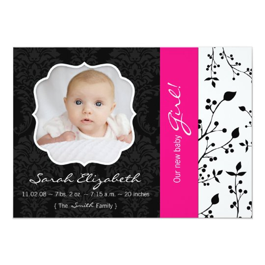 Black & Hot Pink Birth Announcement
