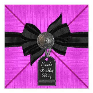 Black Hot Pink Birthday Party Invitation