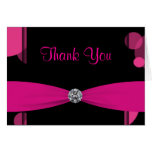 Black Hot Pink Bubbles Hot Pink Thank You Cards