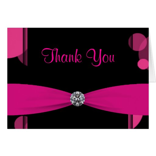 Black Hot Pink Bubbles Hot Pink Thank You Cards Zazzle