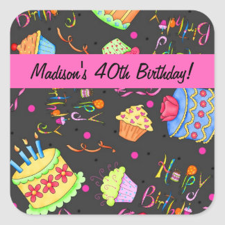 Black Hot Pink Cake 40th Birthday Celebration Square Sticker
