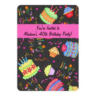 "Black Hot Pink Cake 40th Birthday Invitation 5"" X 7"" Invitation Card"