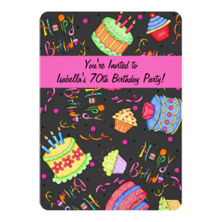 "Black Hot Pink Cake 70th Birthday Invitation 5"" X 7"" Invitation Card"