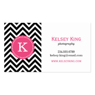 Black & Hot Pink Chevron Custom Monogram Double-Sided Standard Business Cards (Pack Of 100)