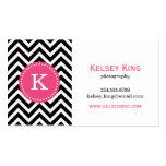 Black & Hot Pink Chevron Custom Monogram Business Card Template