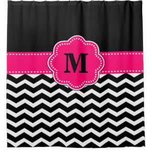 Black Hot Pink Chevron Monogram Shower Curtain