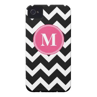 Black & Hot Pink Chevron with Custom Monogram iPhone 4 Case