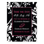 Black & Hot Pink Contemporary Custom Save the Date Postcard