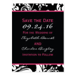 Black & Hot Pink Contemporary  Save the Date Wide Post Cards