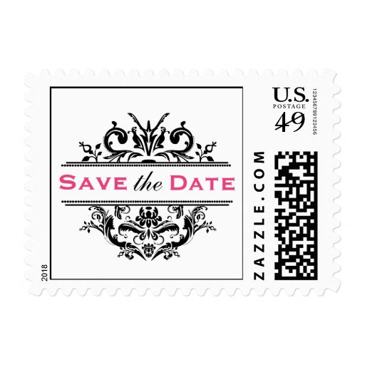 Black & Hot Pink Crest Save the Date Postcard Post Postage