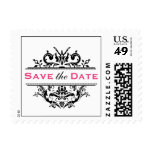 Black & Hot Pink Crest Save the Date Postcard Post Stamp