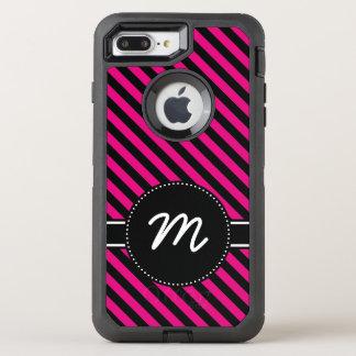 Black Hot Pink Diagonal Candy Stripes Monogram OtterBox Defender iPhone 8 Plus/7 Plus Case