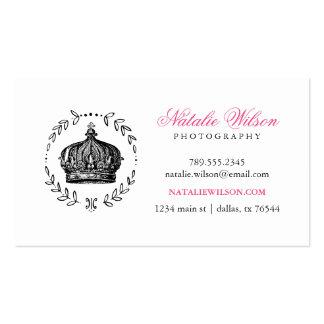 Black & Hot Pink Elegant Vintage Crown Business Card Templates