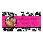 Black/Hot Pink Floral Damask Photo Announcement Photo Card