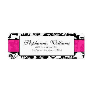 Black/Hot Pink Floral Damask Wedding Address Label