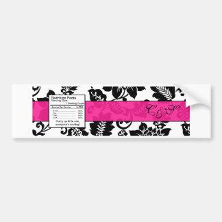 Black/Hot Pink Floral Damask Wedding Bottle Label Bumper Sticker
