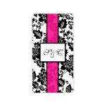 Black/Hot Pink Floral Damask Wedding Candy Wrapper Address Label