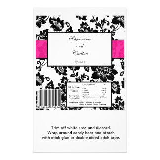 Black/Hot Pink Floral Damask Wedding Candy Wrapper Flyer