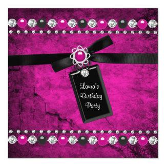 "Black Hot Pink Girls Birthday Party 5.25"" Square Invitation Card"