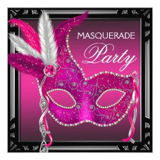 Black Hot Pink Mask Hot Pink Masquerade Party Custom Invite