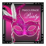Black Hot Pink Mask Hot Pink Masquerade Party Custom Invite