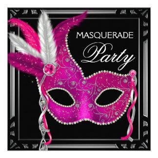 Black Hot Pink Masquerade Party Custom Invites