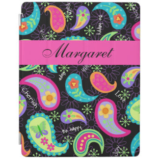 Black Hot Pink Modern Paisley Name Personalized iPad Cover