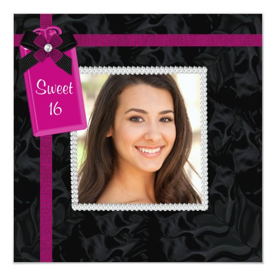Black Hot Pink Photo Sweet 16 Birthday Party Card