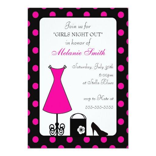black & hot pink polka dot bachelorette party personalized announcements