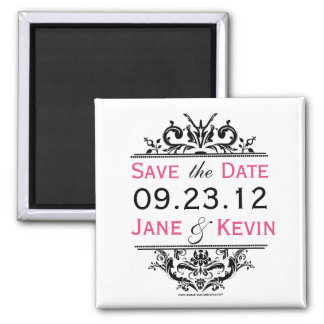 Black & Hot Pink Save the Date Magnet