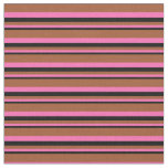 [ Thumbnail: Black, Hot Pink & Sienna Colored Pattern Fabric ]