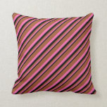 [ Thumbnail: Black, Hot Pink & Sienna Colored Pattern Pillow ]