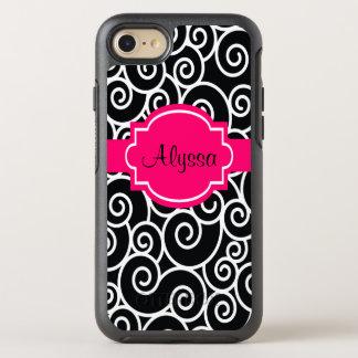 Black Hot Pink Swirls OtterBox Symmetry iPhone 7 Case