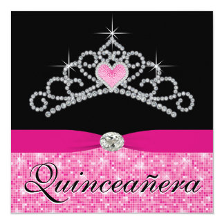"Black Hot Pink Tiara Hot Pink Black Quinceanera 5.25"" Square Invitation Card"