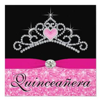 Black Hot Pink Tiara Hot Pink Black Quinceanera Custom Invite
