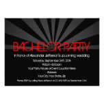 Black Hot Red Lights Bachelor Party Invitation