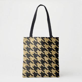 Black Houndstooth And Gold Glitter