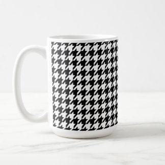 Black Houndstooth Classic White Coffee Mug