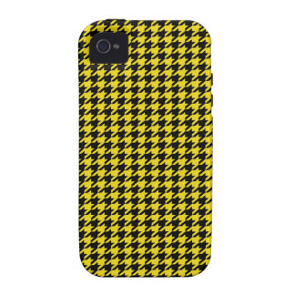 Black Houndstooth on Yellow Case-Mate iPhone 4 Covers
