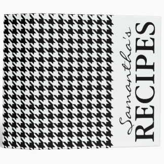 Black houndstooth pattern recipe binder book