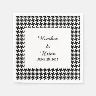 Black Houndstooth Wedding Paper Napkins