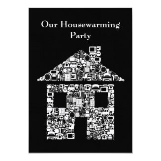 Black House Home Housewarming Party Invitation