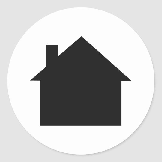 black house icon classic round sticker