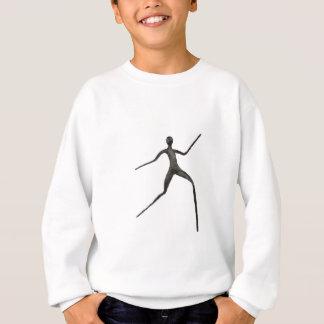 Black human wax model on white background sweatshirt