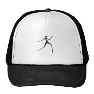 Black human wax model on white background trucker hat