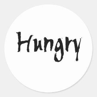 Black Hungry Classic Round Sticker