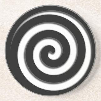 Black Hypnotic Spiral Drink Coasters