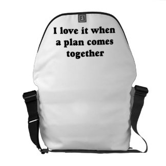 Black I Love It Courier Bag